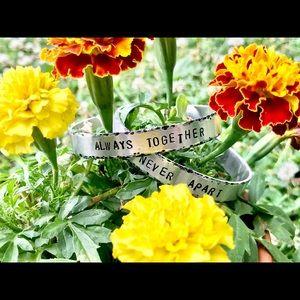 Hand stamped hammered edge bracelet set